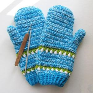 冬天到 钩针连指提花手套编织图解