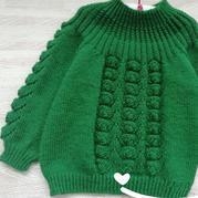 从领口往下织儿童棒针贝壳花圆肩毛衣