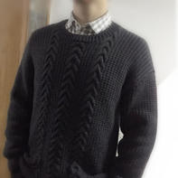 原型制图编织男士棒针落肩袖套头毛衣
