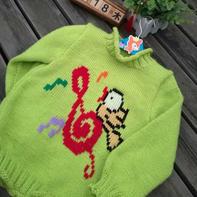 儿童棒针卡通图案套头毛衣