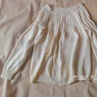 谦白 从上往下织女士棒针麻花羊毛开衫