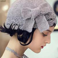花蔲 美丽动人蝴蝶结钩织结合女士春秋帽