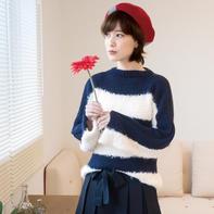 一字领女士棒针拼色直袖毛衣