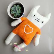 微博款棒針貓咪改鉤針 萌可愛鉤針貓咪編織教程