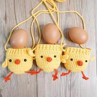 抖音网红小鸡蛋兜 立夏端午钩针蛋袋编织视频