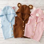 趣味毛线小猪小象小熊连帽背心(2-1)儿童钩针马甲编织视频
