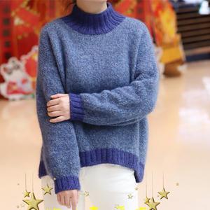 女士棒针前短后长圆弧下摆圈圈线套头毛衣