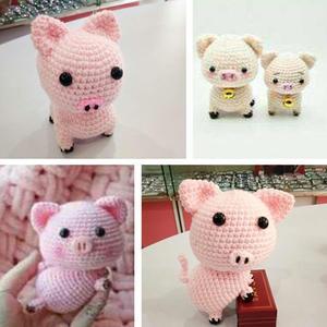 猪年吉祥  2款萌可爱钩针小猪编织图解