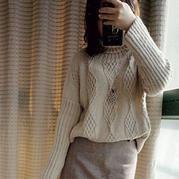 白月光 等直编女士棒针高领毛衣