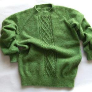 男孩棒针菱形麻花插肩袖羊毛衫