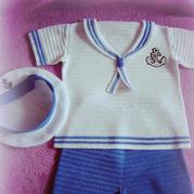 超详细宝宝钩衣过程,编织一款海军风套装原来可以这么简单