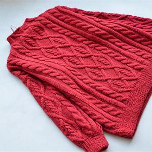 茜熙 小樽领女士棒针绞花套头毛衣