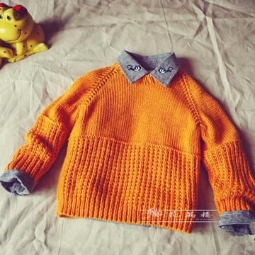 暖黄色儿童棒针插肩圆领套头毛衣