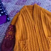 铜锈 女士棒针插肩袖长款提花外套毛衣