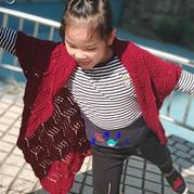 欢颜 只要会织花样就可以完成的儿童棒针披肩式开衫