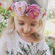 小花朵发带 零线编织打造春天的小仙女