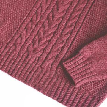 剪红窗 中老年女士棒针麻花羊绒衫
