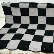 4股牛奶棉编织实用棒针双色毛毯