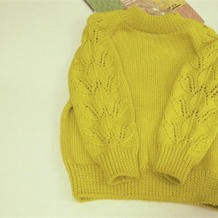 落叶 儿童棒针树叶花样插肩袖套头毛衣