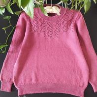 春芽 经典羊毛线女士棒针镂空花套头毛衣