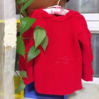 红润 片织女童麻花一字领套头毛衣