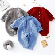 麥穗爬服(2-1)棒針嬰幼兒連體衣編織視頻教程