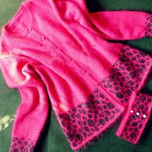 玫豹 三季可穿带脖套的时尚美丽棒针圆领开衫
