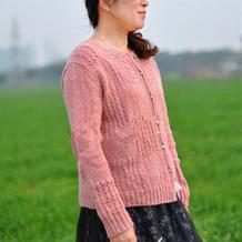春暖 云点花蕊粉春款女士棒针外搭小开衫