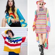多款彩虹色钩织式样 帮你不再犹疑将色彩穿上身