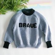 从上往下粗针织儿童棒针字母图案插肩毛衣