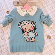 萌芽 羊宝宝十字绣图儿童棒针套头毛衣