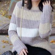 雕刻时光 显瘦显年轻仿淘宝款女士棒针条纹毛衣