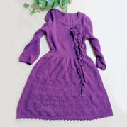 紫云 女士棒针束腰连衣裙(含花朵围巾)