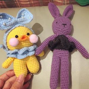 玻尿酸鸭与简单可爱萌小兔钩针玩偶图解
