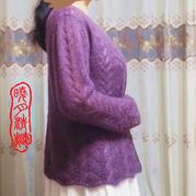 蓝花楹 柔美真丝女士棒针马海开衫