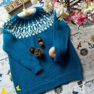 童夢 適合男女寶寶的兒童棒針圓肩提花毛衣