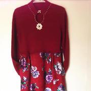 民族风 钩织布结合的女士水滴领旗袍裙