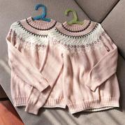 姐俩好  从下往上圈织儿童棒针育克圆肩扭花提花毛衣