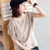 简单好织直编款女士棒针流苏罩衫