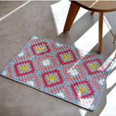 对角线编织经典格纹地垫编织图解
