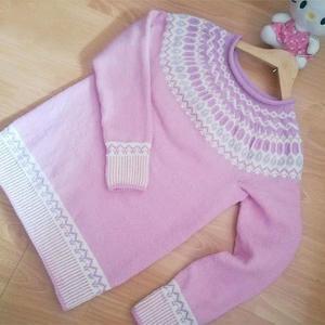 粉钻 毛线球款从上往下织女士棒针提花毛衣