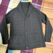 青果领男士棒针外套毛衣 无印良品细线加针也更容易����大版