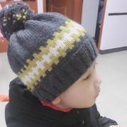 迷失  亲子款棒针提花毛球帽子