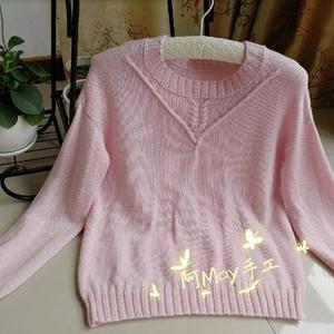 凤仙 粉色春款女士棒针套头毛衣