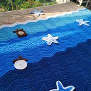 小樹葉變成小烏龜 趣味編織鉤針沙灘小毯