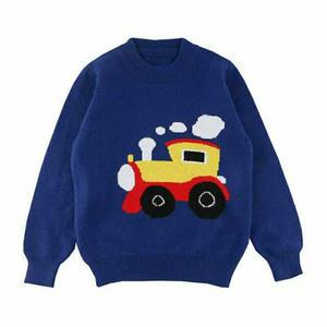 小火车 仿淘宝儿童棒针火车图案套头毛衣