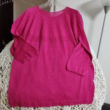 蔷薇 圈织玫红色女士棒针初夏薄款小衫