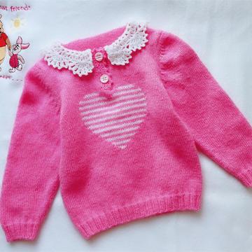 粉粉芭比衣 钩织结合宝贝Mommy牌钩花领套头毛衣