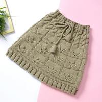 简单的上下针编织的可爱铃铛儿童棒针半身短裙