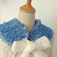 一天可完成的渔网羊毛线棒针多用小围巾